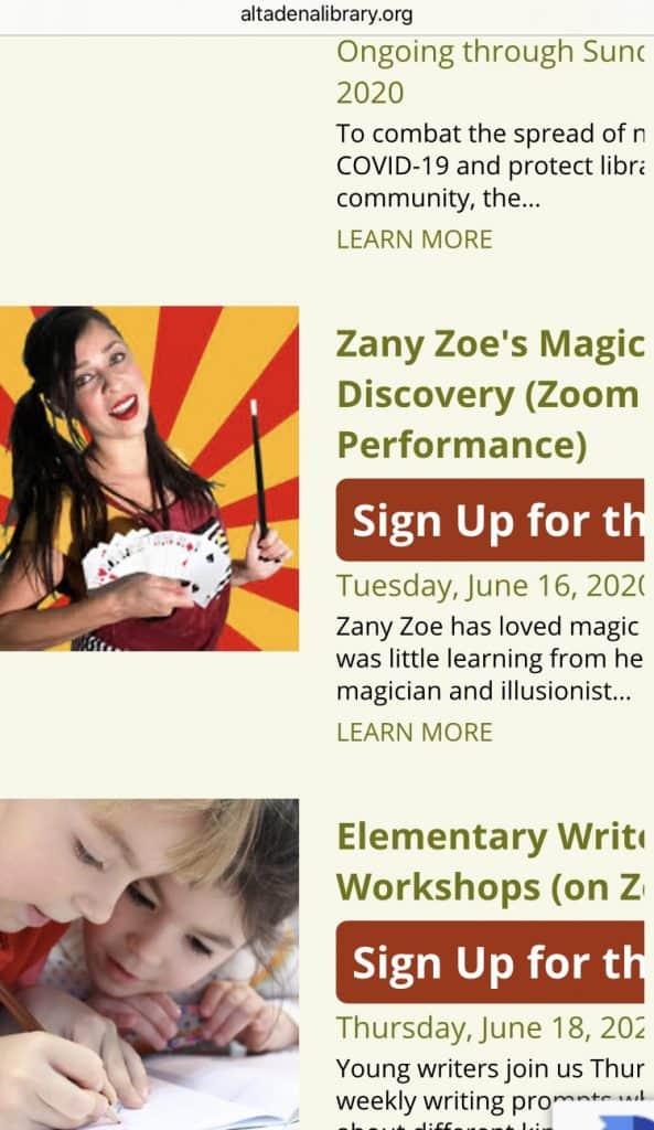 Worldwide Virtual Magic Show Zany Zoe Magician